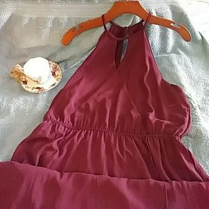 🍸Burgundy Maxie Flowing dress